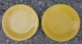 Vintage Old Fiesta Yellow Two 6-1/4' Plates Saucer Homer Laughlin Fiestaware - $23.38