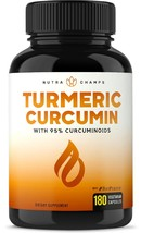 An item in the Health & Beauty category: NutraChamps Turmeric Curcumin with BioPerine 1500mg - 180 Caps