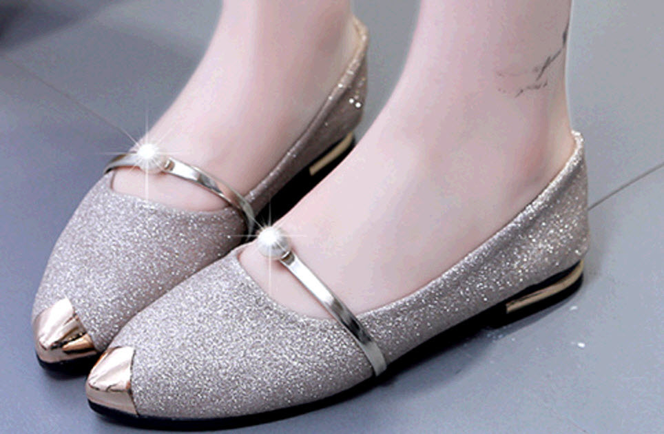 Primary image for pp446 delicate glitter pumps w pearl and metallic head, size 5-9, gold