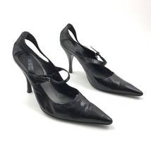 Nine West Black Leather High Heels Pointed Toe Mary Jane Buckle Shoes Si... - €21,72 EUR