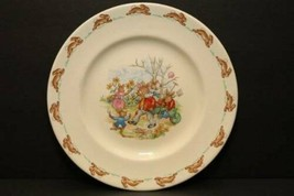 "Bunnykins ROYAL DOULTON Vintage 8"" Lunch Side Salad Plate Family in Garden 59-75 - $22.72"