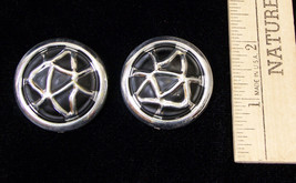 Vintage Robert Rose Large Circle Silvertone Black Earrings Pierced Ears ... - $9.89