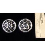 Vintage Robert Rose Large Circle Silvertone Black Earrings Pierced Ears ... - $9.89