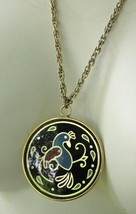 COLORFUL TROPICAL BIRD PENDANT NECKLACE CONVEX COVER ROPE LINK CHAIN Vin... - £4.12 GBP
