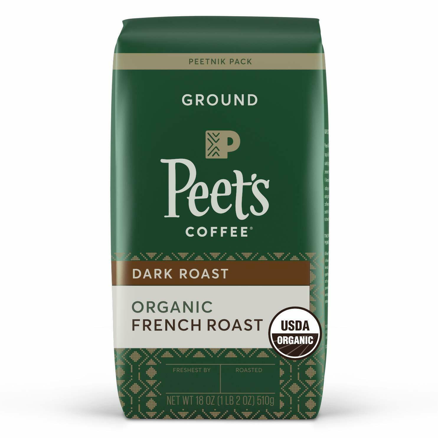 PEET'S COFFEE ORGANIC FRENCH ROAST DARK ROAST GROUND 18OZ - $16.67