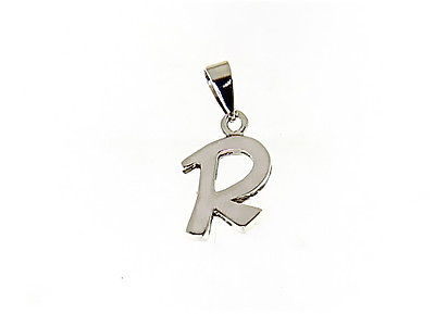 18K WHITE GOLD LUSTER PENDANT WITH INITIAL R LETTER  R MADE IN ITALY 0.71 INCHES