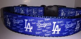 Handmade LA Dodgers inspired dog collar blue adjustable nylon - $11.26+