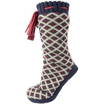 Altos Print Fuzzy Shea Butter Infused Slipper Booties Red - $35.00