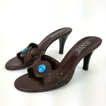 Franco Sarto Womens 5.5 Medium Brown Leather Boho Heels w/ Turquoise Acc... - $18.49