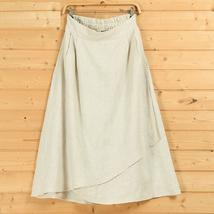 Cotton Linen Wrap Skirts Women A Line Long Casual Skirt, Khaki Army Green Black image 6