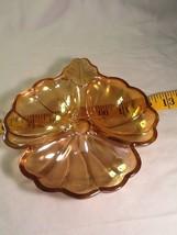 Vintage Jeanette Glass Carnival Gold Divided Cloverleaf Candy Nut Relish... - $4.85