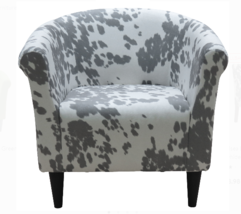 Modern Club Chair Living Room Accent Furniture Cowhide Silver Seat Barre... - $195.90