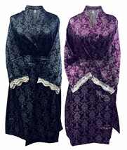 Womens Vintage Filigree Pattern Long Lined Satin Robe Wrap Kimono Dressi... - $12.99