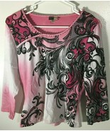 Women's Top Size M Pullover Pink Black White Paisley Bling Sparkle BaMBo... - $17.81