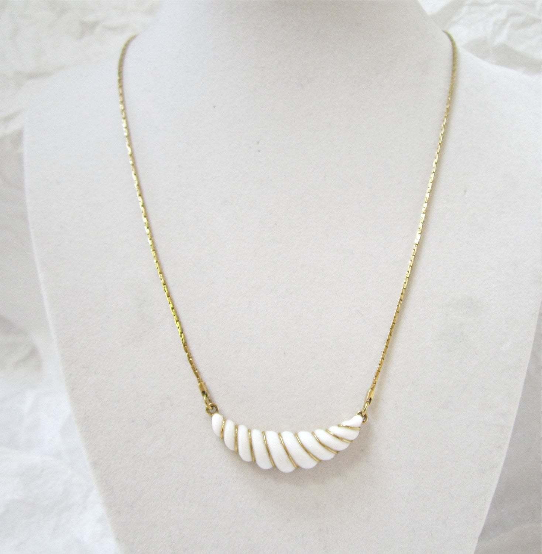 Avon Gatsby Collection Necklace, Art Deco, 1980's, White Crescent Lavalier, Gold