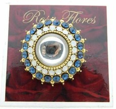 New Old Stock ROSA FLORES Blue White Frosted Rhinestone Medallion Pin Brooch - $33.66