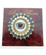 New Old Stock ROSA FLORES Blue White Frosted Rhinestone Medallion Pin Br... - $33.66