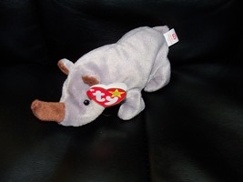 TY ORIGINAL BEANIE BABY SPIKE THE RHINOCEROS PVC PELLETS NEW HTF - $48.80