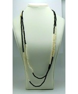 Women's Fashion Freshwater Seed Pearls & Black Beads Continuous Necklace... - $19.70