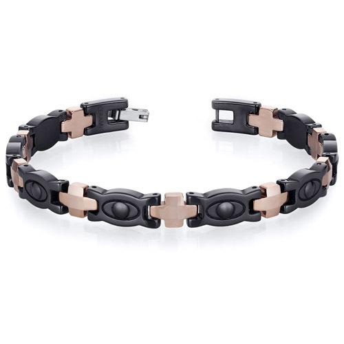 Men's Tungsten Ceramic Copper Tone Eyeball Link Bracelet