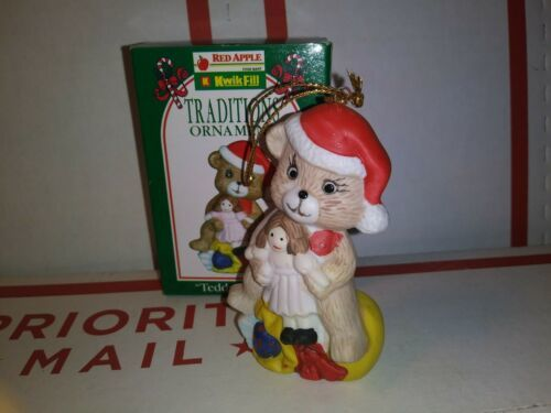 Primary image for 1996 Kwik Fill Teddy the Bear Traditions Christmas Ornament  Ceramic Gas Xmas VG