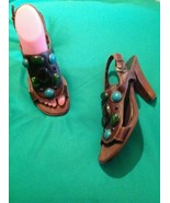 MOSSIMO SZ 7M WOMEN'S BROWN T-STRAP WOODEN CHUNKY HIGH HEEL STONE SANDAL... - $18.50