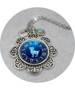 Aries Zodiac Necklace w-March Aquamarine Swarovski Birthstone Crystal & ... - $15.83