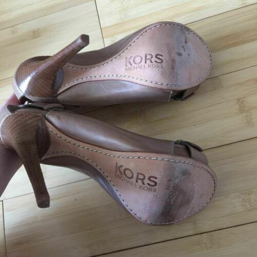 Michael Kors Heels Open Toe leather tan nude size 9.5 EUC image 8