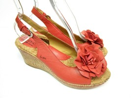 Born BOC Womens 9 Wedge Sandals Shoes Red Leather Slingback Rosette Summer Party - $37.00