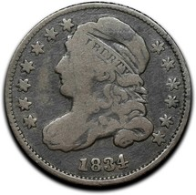 1834 Silver Bust Dime 10¢ Coin Lot# A 399 image 1