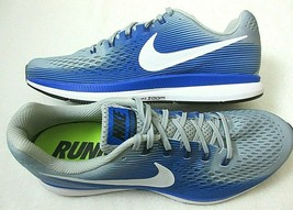 Nike Mens Air Zoom Pegasus 34 Running Shoes Wolf Grey White Racer Blue S... - $64.34