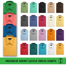 Men's Solid Color Regular Fit Button Up Premium Short Sleeve Dress Shirt image 1