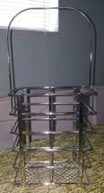 Double Wine metal Bottle Basket carry Caddy modern Metal chrome Handle - $28.02