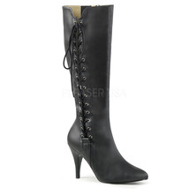 "PLEASER Sexy 4"" Heel Matte Knee High Boots w/ Side Lace Large Sizes DRE2026/BPU - $62.95"