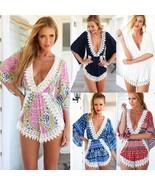 5-Color!  2018 Jumpsuit Women V-Neck Lace Stitching Floral Print Beach P... - $31.74