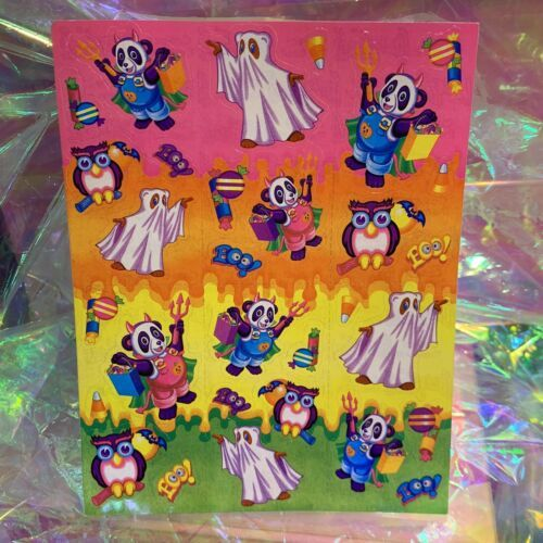 VINTAGE LISA FRANK Halloween Bears Mint Condition Complete Sticker Sheet S256