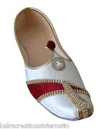 Men Shoes Indian Handmade Traditional Wedding Cream Loafers Punjabi Jutt... - $39.99