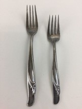 IS Rogers & Bro Reinforced Silver Plate Pair of Floral Dinner & Salad Fo... - $19.99