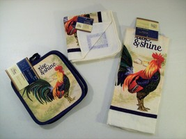 NEW HOME COLLECTION 5 PC KITCHEN SET RISE & SHINE CHICKEN POT HOLDERS TO... - $16.61