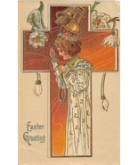 EASTER GREETING~YOUNG GIRL IN ROBE~RINGING GILT BELL~FLOWERS POSTCARD 1909 - $7.12