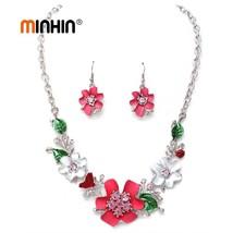 Bohemian Flowers Jewelry Set Women Luxury Wedding Sets Party Gift Earrin... - $21.21