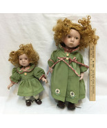 Porcelain Dolls Big & Little Sister Set 2 Green Outfits Gold Red Curly H... - $39.55