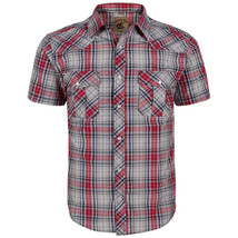 Coevals Club Men's Snap Button Plaid Short Sleeve Casual Western Shirt Size M