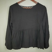 Zara Trafaluc Womens Blouse S Black Babydoll Eyelet Lace Top Shirt  - $19.99