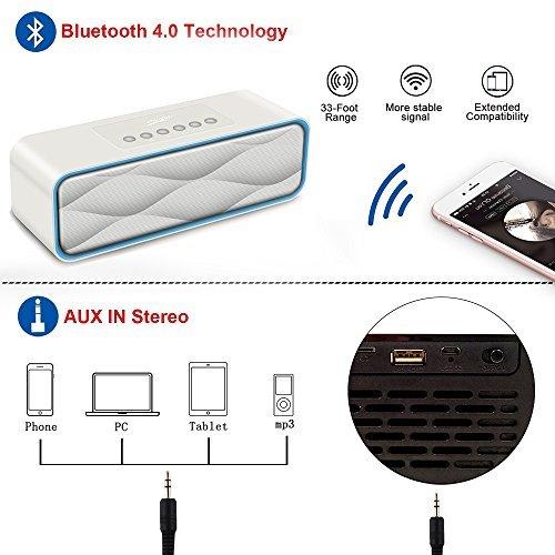 Portable Wireless Bluetooth Speaker,XPLUS Portable FM Radio MP3 (White)