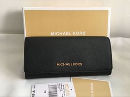 Auth Michael Kors Jet Set Travel Carryall Saffiano Leather Wallet Black - $99.00