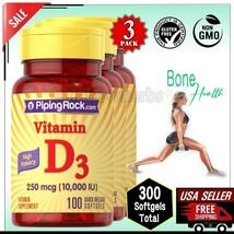 3x 10000 IU VITAMIN D3 250 mcg Bones Muscle Supplement 300 Softgels Pipi... - $25.24