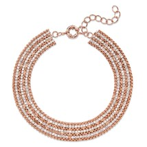 """White Crystal Rose Gold-Plated Box-Link Multi-Row Collar Necklace 11""""-14"""" - $47.99"""