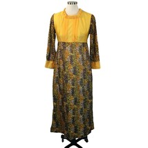 Vtg Groovy Mod Maxi Dress Autumn Fall Yellow Brown Black Medium Metal Zi... - $49.01