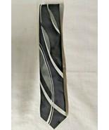 Falls Creek Tie 100% Silk Black Background Silver Curvy Lines  - $14.80